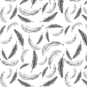 black and white feather fabric