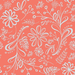Flower Garden in Coral and Blue Gray