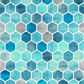 Blue Ink - Watercolor Hexagon Pattern