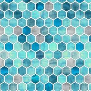 Blue Ink - Watercolor Hexagon Pattern Large