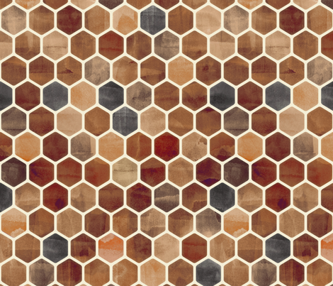 Sepia Ink - Watercolor Hexagon Pattern fabric by micklyn on Spoonflower - custom fabric