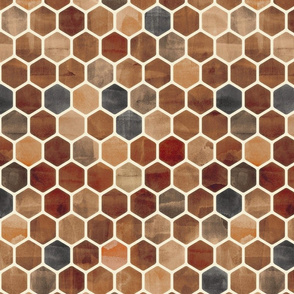 Sepia Ink - Watercolor Hexagon Pattern