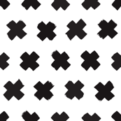 Black and white cross and abstract plus sign geometric grunge brush strokes scandinavian style print