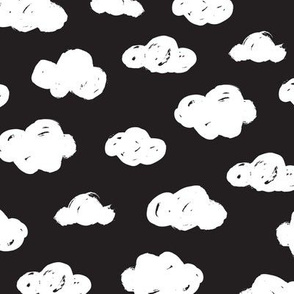 White clouds black and white night abstract geometric gender neutrals prints for kids