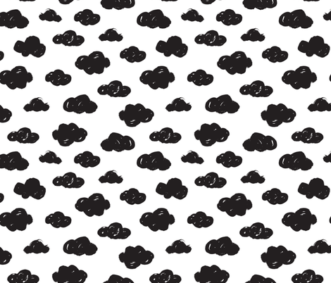 Black clouds black and white abstract geometric gender neutrals prints for kids fabric by littlesmilemakers on Spoonflower - custom fabric