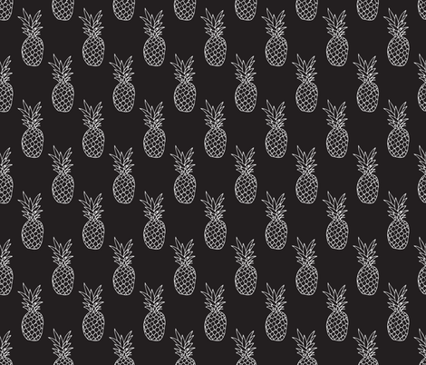 Hot Summer Pineapple Black And White Trendy Illustration Tropical Fruit Print Fabric By Littlesmilemakers On Spoonflower