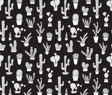 Black And White Trendy Summer Cactus Theme Botanical Garden Gender Neutral Cacti Succulent Illustration Print