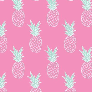 Hot pink summer pineapple illustration trendy kids fashion print pattern