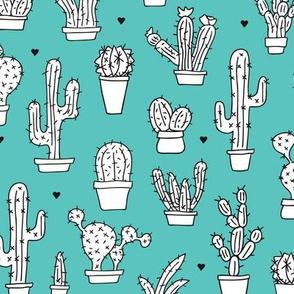 Cactus cacti garden botanical succulent blue pattern
