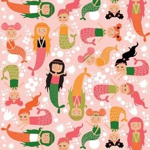 Mermaids on pink, green, orange