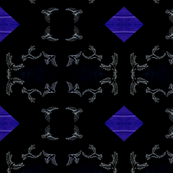 Birds on Black with Indigo Diamonds
