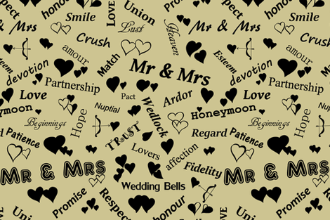 Words_of_LOVE_Black_on_Sand_CDC491 fabric by house_of_heasman on Spoonflower - custom fabric