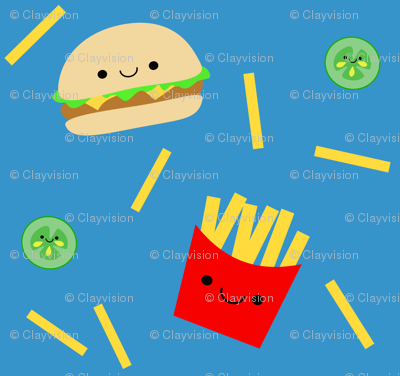 Happy Hamburger and Fries