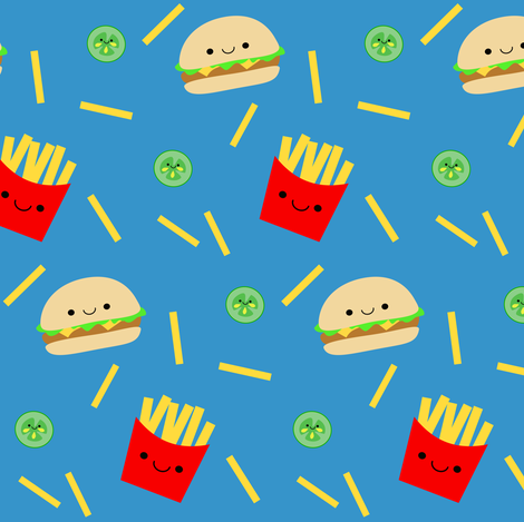 Happy Hamburger and Fries fabric by clayvision on Spoonflower - custom fabric