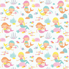 Mermaids - White // by petite_circus // Mint pink yellow Turquoise // cute kids baby nursery //