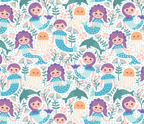 Mermaid Garden Meetup fabric by christinewitte on Spoonflower - custom fabric