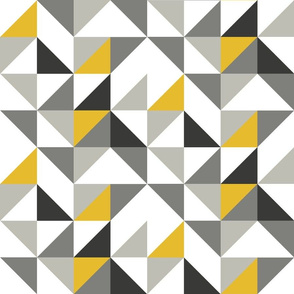 Geo Triangles grey and Mustard