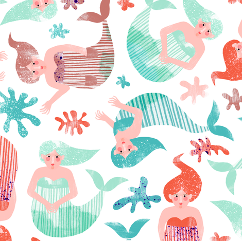 Mermaids fabric by wideeyedtree on Spoonflower - custom fabric