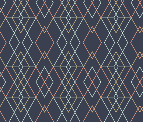 Geometric Grid - Dark Blue fabric by kimsa on Spoonflower - custom fabric
