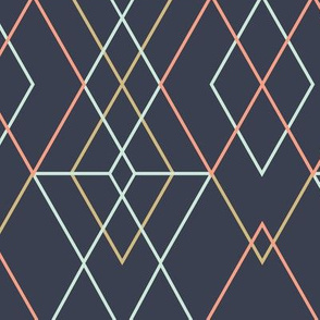 Geometric Grid - Dark Blue