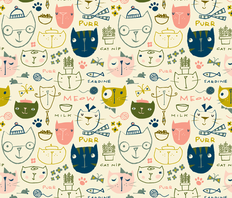 here kitty kitty fabric by shindigdesignstudio on Spoonflower - custom fabric
