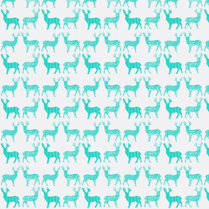 Teal Meadow Deer on White SMALL SCALE