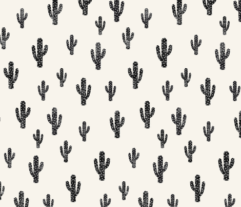 Black cactus  fabric by kimsa on Spoonflower - custom fabric
