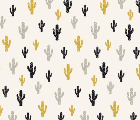 Gold Black Cactus  fabric by kimsa on Spoonflower - custom fabric