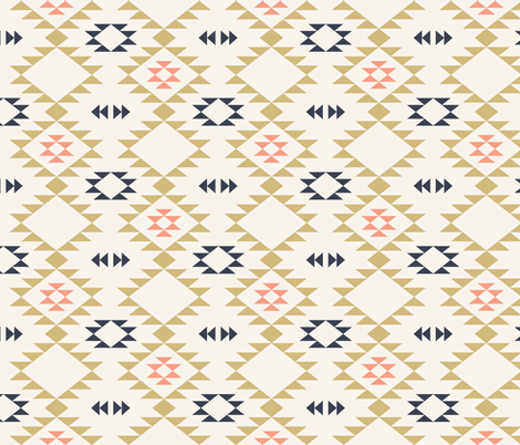 Navajo - Off White Gold Coral fabric by kimsa on Spoonflower - custom fabric