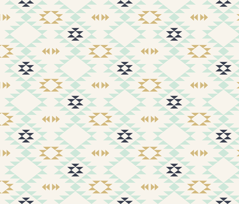 Navajo - Off White Mint Gold fabric by kimsa on Spoonflower - custom fabric
