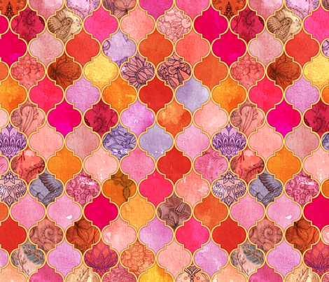 Hot Pink and Orange Decorative Moroccan Tiles fabric micklyn