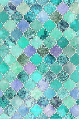 Pale Mint Amp Lilac Decorative Moroccan Tiles Fabric