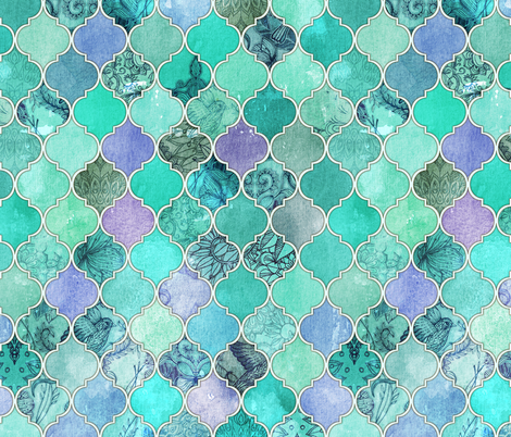 Pale Mint & Lilac Decorative Moroccan Tiles fabric by micklyn on Spoonflower - custom fabric