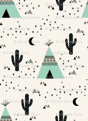Teepee Mint - (Ivory background)