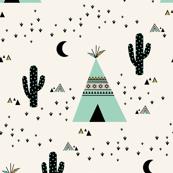 Teepee Mint - (Ivory background)