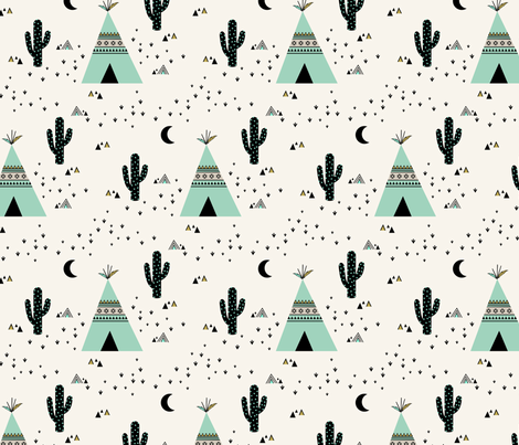 Teepee Mint - (Ivory background) fabric by kimsa on Spoonflower - custom fabric