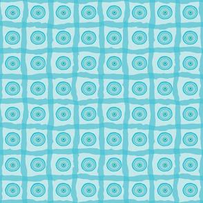 Blue Beach Organic Circles and Checks Bright