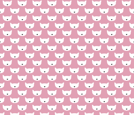 Adorable pink kitten fun cat illustration in scandinavian abstract style print for kids and cats lovers fabric by littlesmilemakers on Spoonflower - custom fabric
