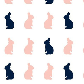 Bunnies // Pink and Navy