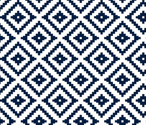 Aztec // navy fabric by littlearrowdesign on Spoonflower - custom fabric