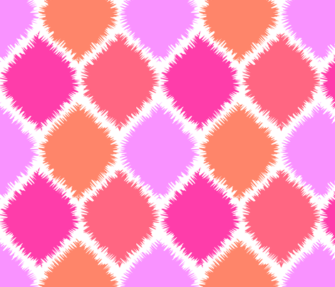 Coral and Pink Ikat fabric by paper_and_frill on Spoonflower - custom fabric