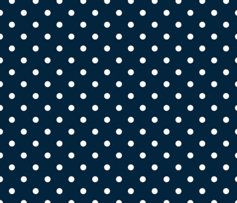 White Polkadots on Marine Navy Blue fabric by paper_and_frill on Spoonflower - custom fabric