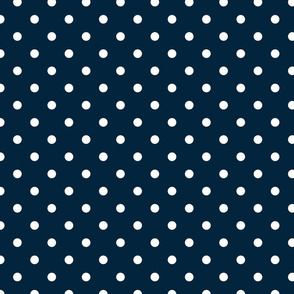 White Polkadots on Marine Navy Blue