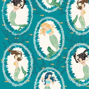 Playful Mermaids in Oval Leis