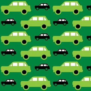 Cars green and black
