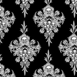 Skullflower Damask - negative - small