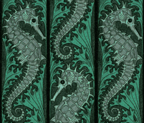 Seahorse Stripe Mosaic Emerald Grey  fabric by peacoquettedesigns on Spoonflower - custom fabric
