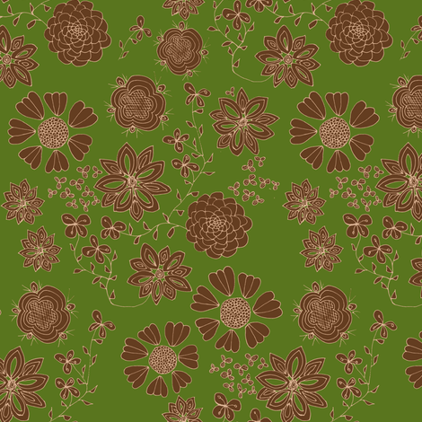 Free the Flowers (dark green background) fabric by arts_and_herbs on Spoonflower - custom fabric