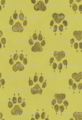 Canine Pawprints Celery Green