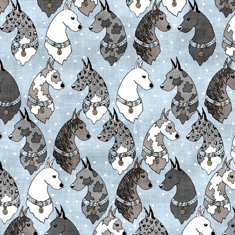 Great Danes & Dots Blue fabric by pond_ripple on Spoonflower - custom fabric